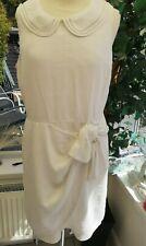 Hobbs NW3 White Linen Dress peter pan Collar Casual Bow detail UK 12