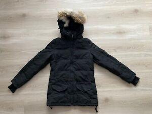 Canada Goose Solaris Parka 3034L Black Fur Coat Down Jacket Size XS / Small