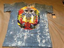 New Yoga Tshirt Thailand Cotton Blue Vintage Om Chakras No Time Vibrant Sz Large