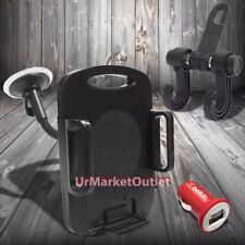 """7""""Long Arm Windshield Tablet Mount Holder Cradle+Bag Hanger Hook+Belkin Charger"""