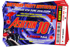 BIRTHDAY PARTY INVITATIONS Laser Tag Quest BLUE ticket style