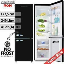 Kühl Gefrierkombination Kühlschrank Retro Kombi schwarz Nostalgie freistehend