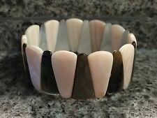 NWOT Honora Pink and Abalone Mother of Pearl Stretch Bracelet Cuff 7 1/4""