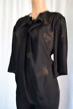 STELLA McCARTNEY Black Cheer Faye Bow Print  3/4 Sleeves Blouse Size 44
