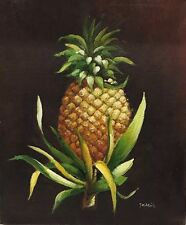 """Canvas Oil Painting Still Life Fuit Pineapple Signed By J. Maria 24""""L X 20""""W"""