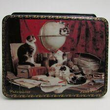 Russian Lacquer Box Fedoskino Desk Cats