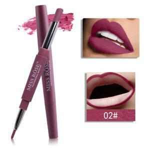 Waterproof Pencil Lipstick Pen Matte Lip Liner Long Lasting Makeup 02# Coral Red