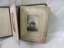 Antique Victorian Postcard Album Portrait Photographs Vintage Leather Book
