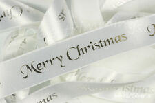Berisfords 10 Mm Merry Christmas Ribbon White and Silver