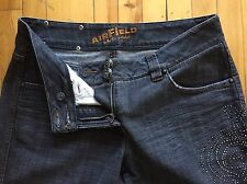 Airfield Authentic Signature Jeans Women Rhinestones Distressed Straight Size 34