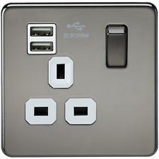 1 SF9901BNW-SCREWLESS 13A 1G ENCHUFE CONECTADO CON DOBLE USB CARGADOR NEGRO