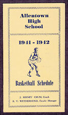 1941-1942 Allentown (Pa.) High School Basketball Schedule J. Birney Crum Coach