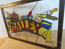 """Nautical, Leaded Glass, Ship'S """"Galley"""" Sign"""