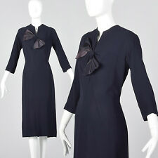 L 1950s Navy Blue Rayon Pencil Dress Long Sleeves Bow Detail Fall Autumn 50s VTG