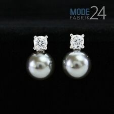 Damen Ohrringe Ohr Stecker echt 925 Sterling Silber Perle n Grau Zirkonia 0,30ct