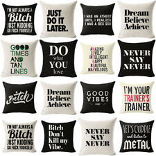 18'' Funny Intersting Letters Linen Pillow Case Standard Pillow Cover Home Decor