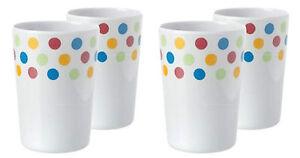 Melamine (plastic) POLKA beakers x 4, picnic, BBQ, caravan, camping, boat, baby