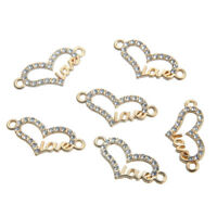10pc Gold Crystal Love Heart Shaped Connector Beads Charm Pendant DIY Necklace