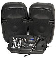 Denver DJ-200 portables Bluetooth DJ Mischpult mit Lautsprecher und Mikrofon