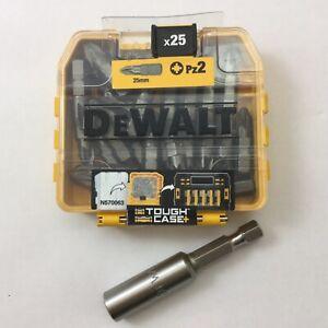 DEWALT PZ2 25mm tough case 25pc DT71521-QZ + 1 X DEWALT 60mm magnetic bit holder