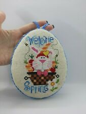 Embroidered pinkeep (technology cross-stich) with Easter Bunny Welcome spring