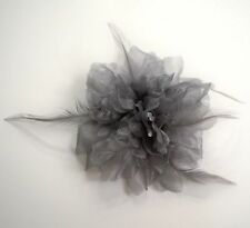 FEATHERED JEWEL PEONY FASHION FLOWER HAIR CLIP/PIN BROOCH