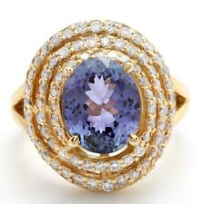 Natural Azul Tanzanita y Diamantes 5.18 Quilates en 14K Sólido Anillo Oro