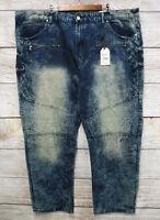 Trestles Supply Co Jeans Big Mens Size 50 Dirty Acid Wash #8 Moto Zipper New