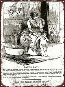"""1886 Ivory Soap Mother Bathing Baby Baby's Bath Chafing Metal Sign 9x12"""" A138"""