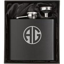12oz Engraved Stainless Steel Matte Black Hip Flask Funnel Gift Set Monogram