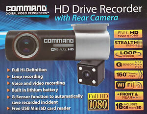 Car Dash Cam HD Vehicle DVR Digital Video Recorder With Rear Camera 16Gb SD Card
