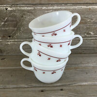 7 Corelle Burgundy Rose Coffee Cups, Pyrex Corning Coffee Cups - Maroon Flowers