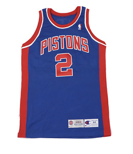 Vtg Champion Detroit Pistons Stacey Augmon #2 Stitched Game Jersey Blue 95/96 44