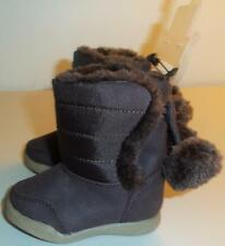Faded Glory Infants Pom Pom Faux Fur Brown Boots Size 2 New