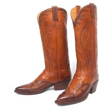 Lucchese Classics Brown Cowboy Boots - Women's 7.5B Tall Wingtip Overlay