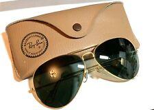 Vtg Ray Ban Bl Bausch Lomb Gold Frame Aviator Sunglasses w Case Nos Green Black