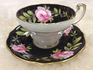Vintage 1850 EB FOLEY Bone China Tea Cup & Saucer England Roses Black Pink Gilt