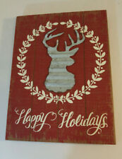 Christmas Happy Holidays Wooden Wall Art Silver Deer  White Wreath Wood & Metal
