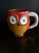 Gibson Home 3D Large 23 Oz. Owl Gold/Red Ceramic Stoneware Coffee Mug