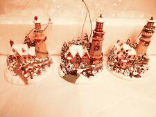 Thomas Kinkade's Winter Illuminations Heirloom Classics Ornaments (3) in Set-ex