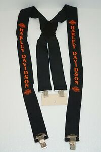 Authentic Harley Davidson Motorcycles Orange Logo Suspenders