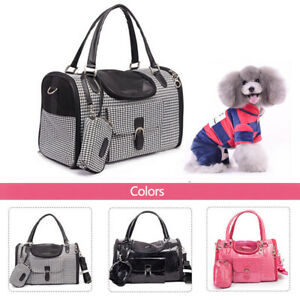 Portable Cat Dog Carrier Stylish Puppy Travel Tote Bag Breathable Black/Pink Bag