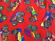 MONSTER TRUCKS ON RED COTTON BY VIP CRANSTON - 1 1/4 YARD