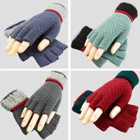 Women Winter Warm Half-Finger Knitted Gloves Soft Mitten Hand Warmer Mitts US