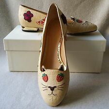 NEW Charlotte Olympia Kitty 39.5 9 Cat Ballerina Ballet Flats Fruit Loafer Shoes