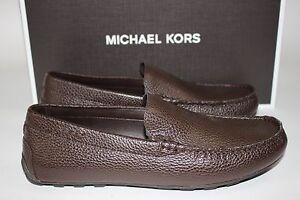 NIB $298 MICHAEL KORS Size 8 Mens Dark Brown Pebbled Leather WILLIAM Driving Moc