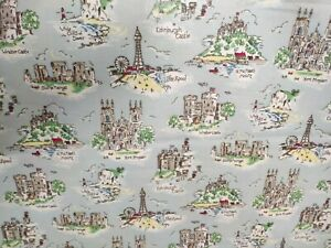 Vintage Cath Kidston UK Attractions Oilcloth Fabric 1.5 x 1.4m  tablecloths etc