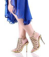 Gold nn Fashion Rhinestones Womens High Heels Evening Dress Shoes Size 5.5