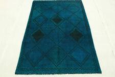 Oriente Alfombra Vintage overdyed 220x140 azul Look Usado elegante