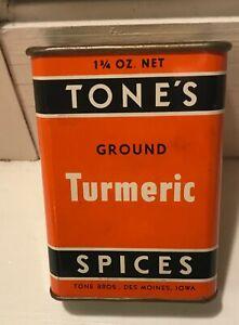 Tone's Turmeric  Orange And White  Spice Tin